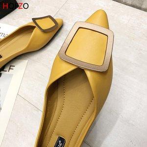 HQFZO femme Mocassins boucle en métal bout pointu précarisés Slip- Sur Chaussures Femme douce peu profonde Flats Printemps Eté 2019 Mujer
