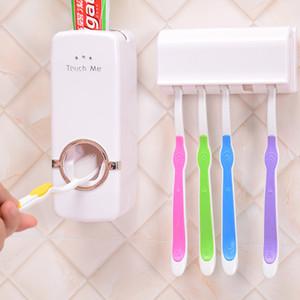 Yüksek Kaliteli Diş Fırçası Tutucu Otomatik Diş Macunu Dispenser + 5 Diş Fırçası Tutucu Diş Fırçası Duvara Monte Banyo Araçlar Standı