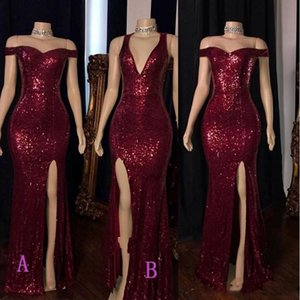 Burgundy luxo high Dividir colaterais Prom Dresses V Neck Mermaid Formal Evening Vestidos Plus Size Reflective Vestido de lantejoulas
