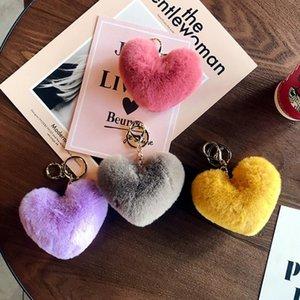 2019 Netter Keychain llaveros mujer gefälschtes Kaninchen-Pelz-Herz Pompom Schlüsselanhänger Frauen-Mädchen-Tasche Autos Einfache Fluffy Keyring Schmuck Geschenke