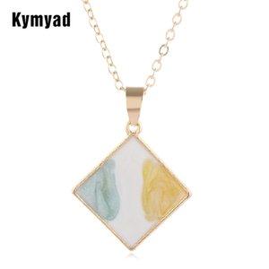Kymyad Gold Color Enamel Pendant Necklaces For Women Geometric Charms Necklaces Cute Choker Collier Femme Jewellry