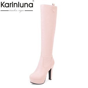 KARIN customize large size 31-45 platform high heel woman shoes women sexy knee high boots add fur winter autumn black white