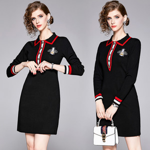 Hohe qualität frühling herbst stickerei kleider frauen revers neck langarm runway dress elegante büro dame business sexy dünne mini dress