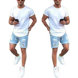 Pantaloncini Denim Blue Denim Moda Danni strappati Drepresso Pantaloncini Casual casual Jeans corti con cerniera