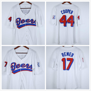 Doug Remer 17 Joe Cooper Coop 44 BASEketball BEERS Film Bouton Jersey vers le bas blanc Tout Cousu point Sewn Haute Qualité Jersey