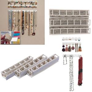 New 9Pcs Set White Rack Key Hanger Plastic Hook Jewelry Organizer Hanging Bathroom Shelves Storage Holder Wall Sticky Hooks