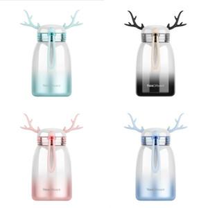 Tazza di alce di colore sfumato Coppia di studenti portatile Tazze di grande pancia Ins Creative Deers Thermos Cup Tazze regalo di Natale