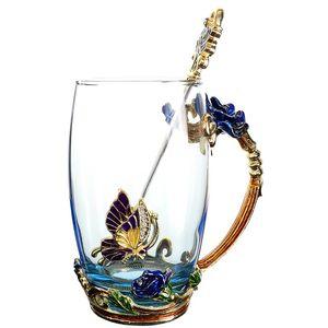 Beauté et nouveauté émail Tasse de café de fleur tasses en verre pour l'eau chaude et froide Coupe boissons cuillère Set parfait haut Type