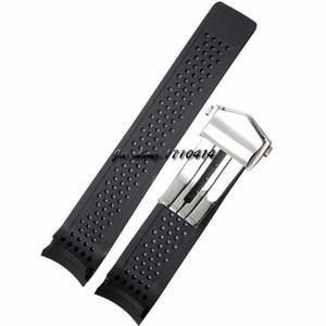 Jawoder 24mm fori cinghia cinturino in acciaio inox windband per gomma siliconica 22mm subacquea band nero orologio orologio T-A-G EXVCF