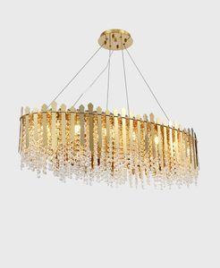 Modern Luxury lungo cristallo dell'oro metallo lampadario del salone della casa decorazione dell'hotel Pendant Light Fixture PA0619