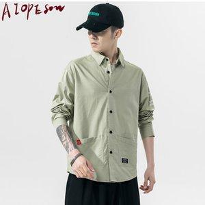 Aiopeson Camisa Nova Homem Camisa Retrorreflectora Camiseta Homem Casaco Vestuário Moda Rua de Mangas compridas Tendência Casual