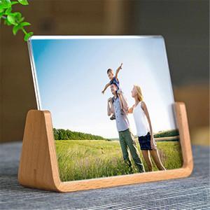 Criativa sólida moldura de madeira europeias inovadoras 6 polegadas de 7 polegadas Acrílico U Shaped Photo Frame Decoração Início Desk