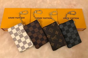 4 color KEY POUCH Damier leather holds high quality famous classical designer women key holder coin purse small leather Key Wallets