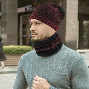 2pcs hommes hiver chaud Bonnet avec écharpe Set skullies pour Beanies Outdoor Men « s Old Boy Sport Set 12.6