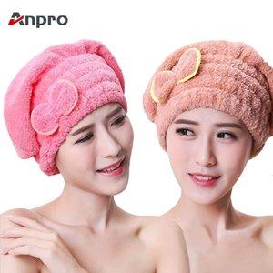 Anpro Microfiber Coral Velvet Dry Hair Cap Wrap Towel Super Absorbent Drying Turban for Women Bath Spa Shower Hat