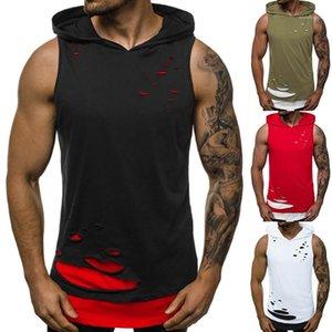 Hombres camiseta sin mangas manera ocasional adolescentes Tees verano para hombre T-Shirts rallado Personalidad diseñadores con capucha