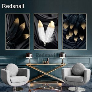 Black White Golden Feather Abstract 5d diamond painting diy full square drill diamond embroidery DIY rhinestone painting TT596