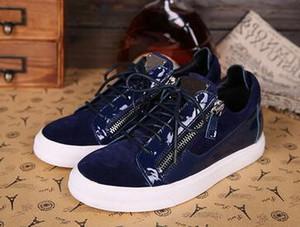 İtalya Tasarımcı Ayakkabı Gerçek Deri Günlük Ayakkabılar Altın hococal Fermuar Erkekler ve Kadınlar Düşük En Sneakers Eğitmenler 35-47 zip