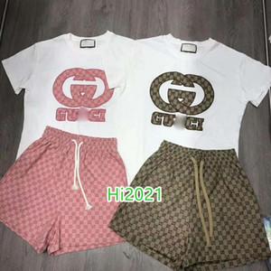 las mujeres alta gama camiseta de la muchacha ocasional de la letra traje bordado apliques jersey tee + enclavamiento de impresión cortos 2020 series sueltas de diseño de moda de lujo