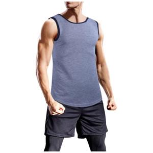 Homens Bodybuilding Regatas Gym treino de fitness sólidos respirável mangas Singlets Masculino Verão Sportwear Shirts Vest Vestuário