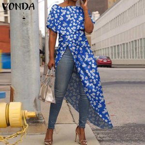 Summer Blouse Women Irregular Tunic Vintage Floral Long Shirts Office Sexy Party Tops VONDA 2020 Female Casual Blusa Plus Size