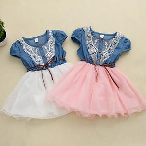 Kinder Prinzessin-Baby-Mädchen-Partei-Spitze-Blumen-Tulle-Denim-Kleid-beiläufige Kleider