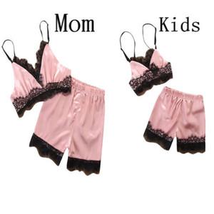2019 Le donne della famiglia del bambino in raso di seta pizzo degli indumenti da notte della biancheria della bamboletta Shorts Pajamas Set