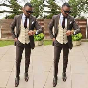 New Style Coffee Groom Tuxedo Men Suit 2 Pieces Slim Fit Notched Lapel Blazer Handsome Groom Wedding Wear Dinner Party Suits(Jacket+Pants)