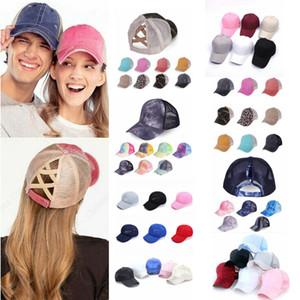 Algodón cola de caballo gorra de béisbol sombrero sombrero transpirable cabeza gorro deportivo al aire libre tapas de malla cruzable ajustable para mujeres niña ffa4216