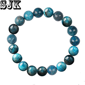 Natural Stone Blue Apatite Round Phosphorite  Elastic Bracelet 4 6 8 10 12mm Healing Bracelet Women Jewelry Gifts
