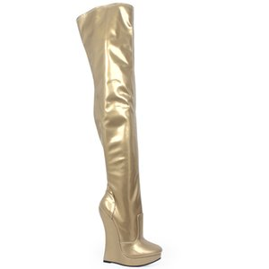 New arrival 18CM high Heel wedges Platform Sexy Fetish stunning slim over-the-knee thigh boots unisex plus size