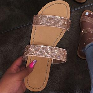 Kadınlar Yaz Düz Terlik Rhinestone Ayakkabı Açık Burun Roman Beach Sandalet bayanlar Seksi Kapak Altın Gümüş Kaymaz Slaytlar Floplar