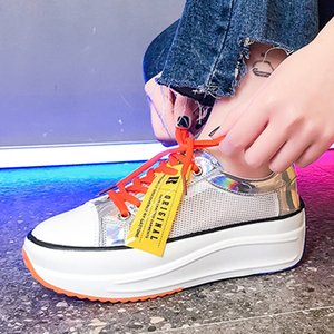 fashion women platform casual shoes mixed colors ladies breathable sneakers summer chunky female mesh flats for woman