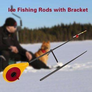Marque extérieure Pêche sur la glace Rods d'hiver Mini portable Pêche Cannes Rod Ultraléger ABS très léger sur glace Pêche Cannes Jaune Bleu