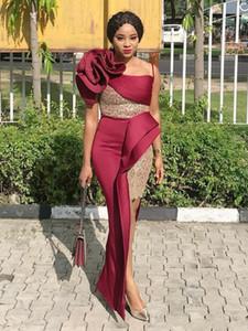 Prom Dress africano dei vestiti da sera Mermaid una spalla Borgogna fiori Handmade Lace Plus Size Alto Basso Donne Abiti da sera