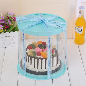 صناديق تغليف كعكة البلاستيك جولة صندوق كعكة منظم شفاف للمنازل حلويات محل 6/8 / 10inch لطبقة مزدوجة / وحيد طبقة