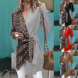 Coats Sexy Langarm-Kontrast-Farben-Mantel-Leopard-Druck-Damen Kleidung Damen V-Ausschnitt Designer Trench