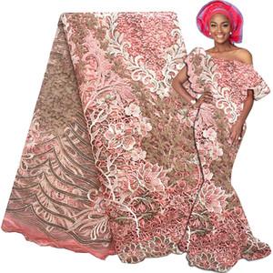 Peach Nigerian Französisch Latsch Afrikanische Spitze-Gewebe 5Yards Guipure-Spitze-Gewebe-Qualitäts-afrikanische Cord-Spitze-Gewebe für Wedding Dress