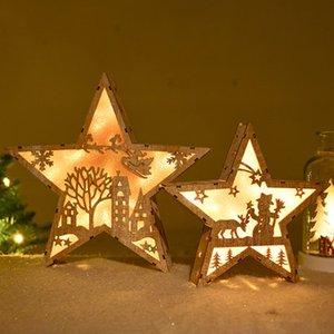 Скандинавского стиль Деревянного Pentagram Santa Christmas Snow House светодиодного Свадебные украшения партии Главных Аксессуары Подарки Новый год 2020