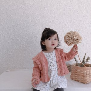 Girls Spring and Autumn Single-row Button Lace Sweater Cardigan Childiren Long Sleeve Cotton Jacket Knitted Sweaters Coat Cloth