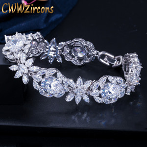 CWWZircons Top Quality Branco nupcial do partido Cubic Flor Zirconia Folha Big Wedding Charm Bracelet Bangle por Mulheres CB128