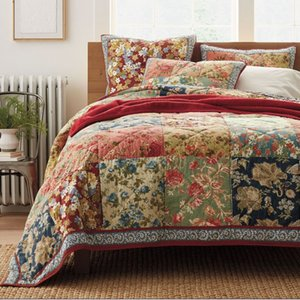 CHAUSUB Handmade Quilt Set 3PCS Patchwork Quilts For 100% Cotton Quilted Bedspread American Floral Bed Cover King Size Coverlet