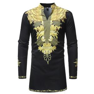 Дизайнерская мужская одежда Племенной Этнические печати Африканский Dashiki с длинным рукавом Стенд Воротник рубашки платья Мужчины Африка Стиль одежды