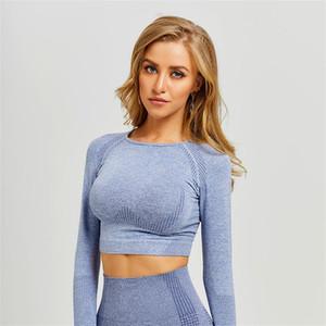 Weibliche Jacquard Weste Punkte Designs Reine Farbe Langarm T-Shirt Kleidung Skinny Yoga Shirts Top Kleid Für Sport Tragen 36RX E19