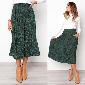 2019 Summer Casual Chiffon Print Pockets High Waist Pleated Maxi Skirt Womens Long Skirts For Women MX190801