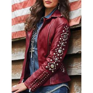 Mulheres Zipper pelúcia homens de couro novo terno do lazer gola juventude moda jaqueta ombro perfuração quente e jaqueta de couro