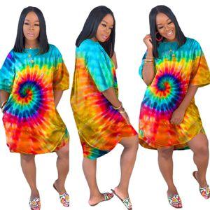 Batik Baskı Kadınlar Elbise Yeni O-Boyun Tam Kol Diz Boyu Elbise Moda Günlük Gevşek Gece Elbise vestidos Rahat Pijama