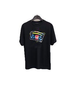 19SS feita em Itália Old Radio Bordados Moda LOGO Bege Tee Rua Pra Moda Casual camisa de manga curta Homens Mulheres