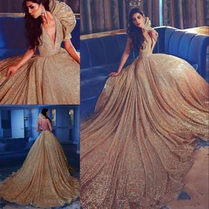 반짝 황금 장식 조각 이브닝 드레스 깊은 V 넥 섹시한 등이없는 놀라운 레드 카펫 드레스 저렴한 맞춤 제작 연예인 댄스 파티 드레스