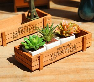 Hot Vintage Wooden Boxes Crates Flower Pot Kitchen Trinket Desktop Storage Case Practical Use New